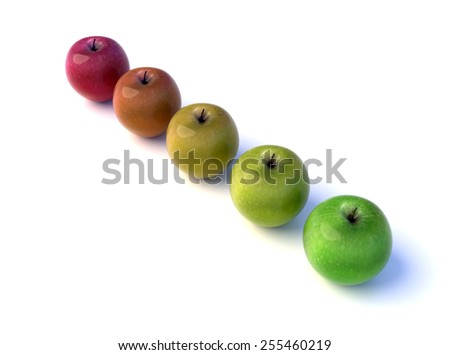 Five apples with different colors, from red to the green. - stock photo