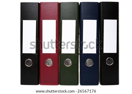 Five Arch Lever Folders - Isolated on White, can be Joined or Stacked Together to Form Indefinite Chain - stock photo