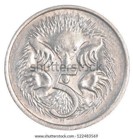 five australian cents coin isolated on white background - stock photo