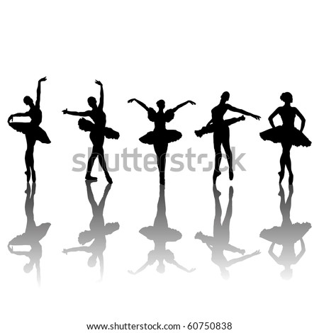 Five ballet dancers silhouettes in different positions, clip-art illustration. Vector format is also available in my gallery - stock photo