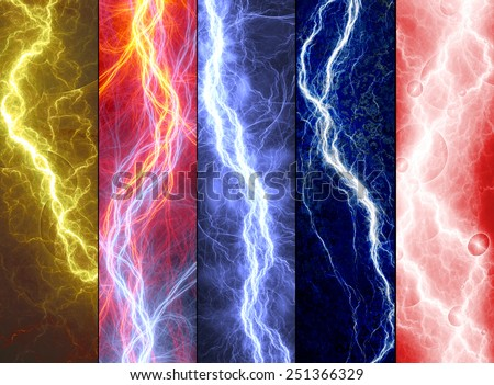 Five banners with colorful abstract lightnings