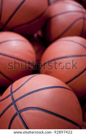 Five basketballs in close up - stock photo