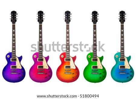 Five beautiful electric guitars isolated on a white background - stock photo
