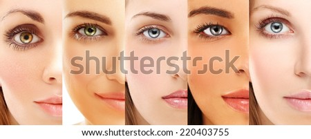 Five beautiful  women of different ethnic groups  with different skin types  - stock photo