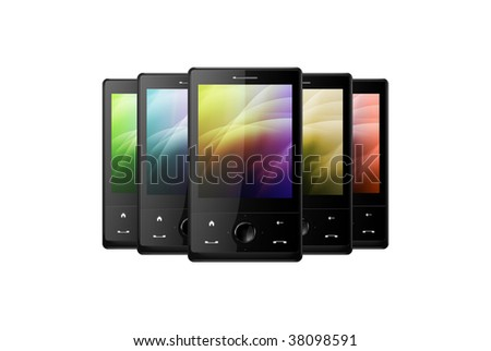 five black cell phones on white background