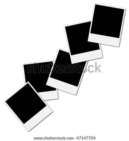 Five blank frames ready to insert photos and create a photo collage - stock photo