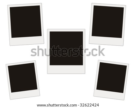 five blank photo isolated on white - stock photo