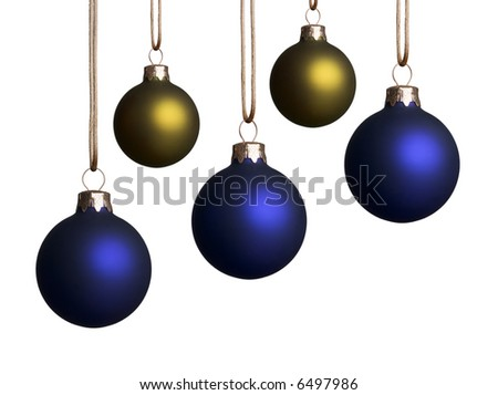 Five blue and gold christmas ornaments hanging isolated on a white background. - stock photo