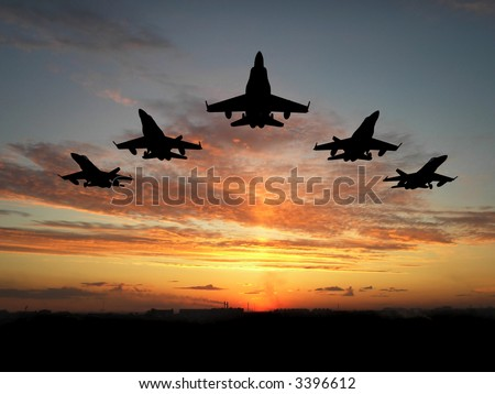 Five bombers over orange sunset - stock photo