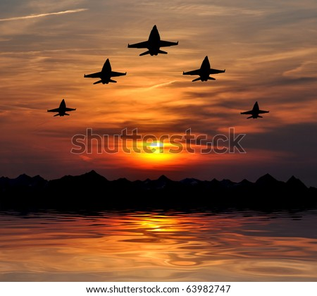 five bombers over sunset - stock photo