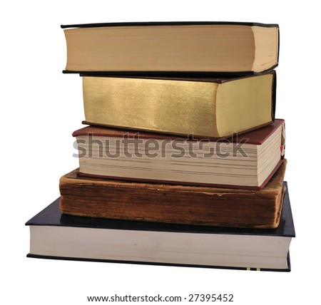 Five books from different ages, isolated on white.