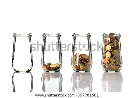 Five bottle with different step of coins,Business investment growth concept - stock photo