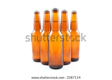 five bottles of beer isolated on white