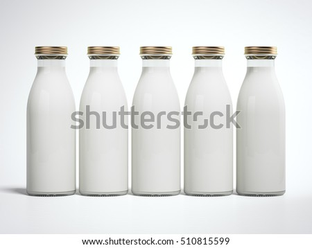 Five bottles of milk isolated on a white background. 3d rendering