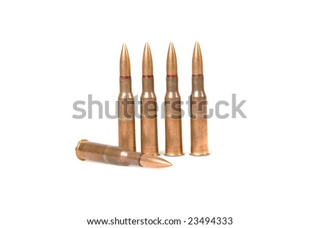 five bullets isolated on white background