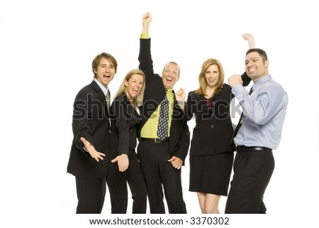 Five business people gesture excitement together - stock photo