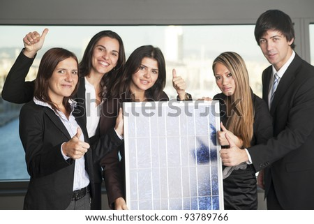 Five business people sell solar energy - stock photo