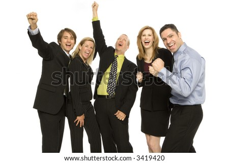 Five business people stand together with excitement - stock photo