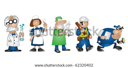 Five cartoon professionals scientist doctor nurse builder burglar - stock photo