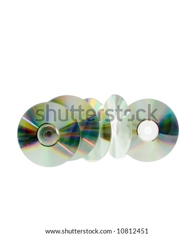 five cd's floating in the air