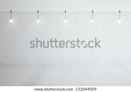 five ceiling lamps in white room - stock photo