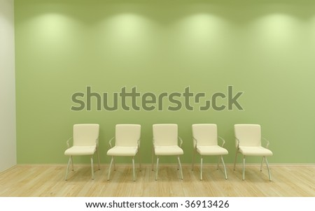 Five Chairs to face a blank green wall - front view