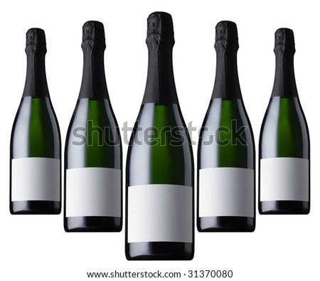 five champagne bottles - stock photo