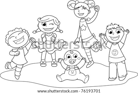Five children exulting happily together. Coloring black and white illustration.