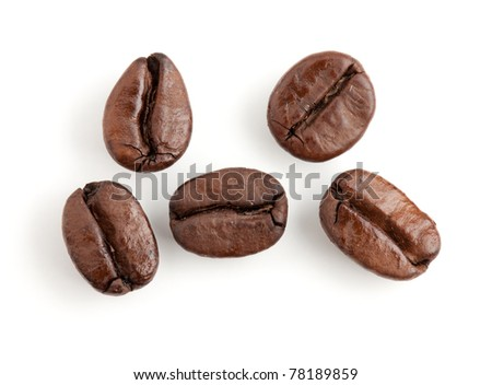 Five coffee beans. Isolated on white background