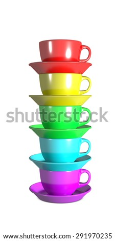 Five coffee cups vertically stacked with rainbow colors - stock photo