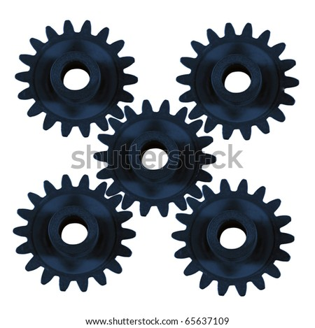 Five cogs all working together - stock photo