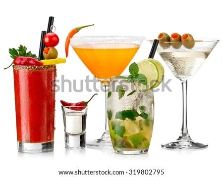Five color cold cocktails - stock photo