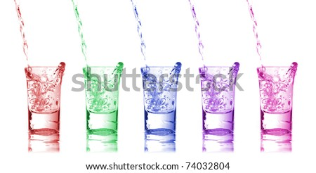 Five color glass with motion water - stock photo
