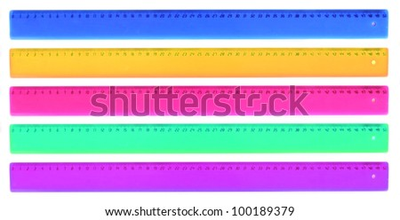 Five color rulers isolated on white. 50 mm length.