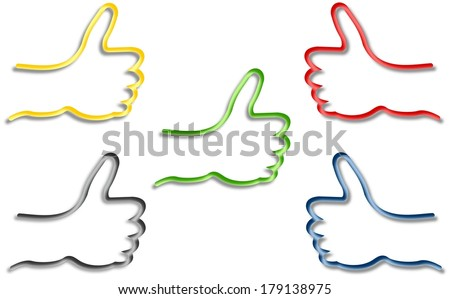 Five colored and shaded hands with thumb up - stock photo