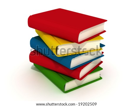 five colored books isolated in white background