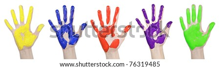 Five colored children's palms, isolated on white background - stock photo