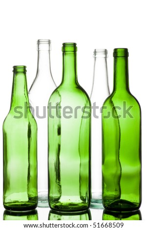 five colored glass bottles