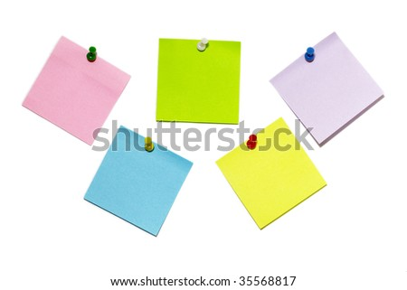 Five colored sticker notes with push-pins isolated over white background