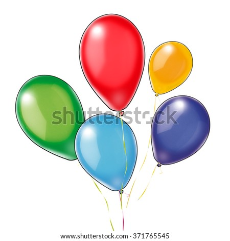 Five colorful balloons isolated on white background. Blue, Yellow, Red, Green, Violet balloons. Digital Illustration for art, print, web, holiday cards graphic design