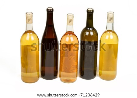 Five Colorful Bottles of Wine Isolated on a White Background