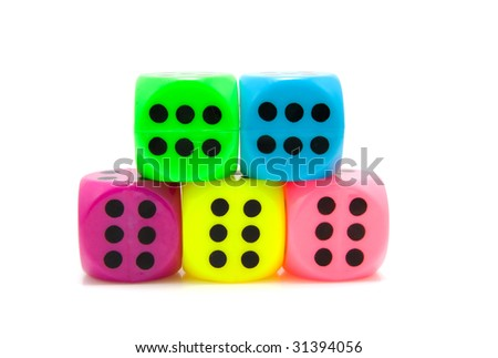 Five colorful dice isolated on white background