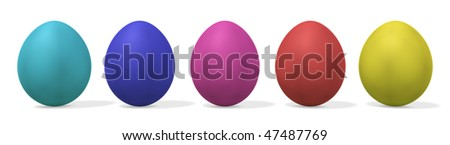 five colorful easter eggs in a row - clipping path is included - 3d illustration - stock photo