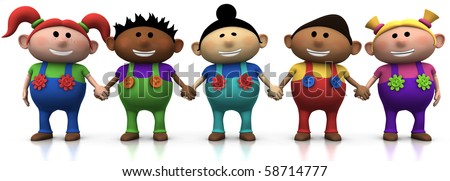 five colorful multi-ethnic cartoon kids holding hands -  3d rendering/illustration - stock photo