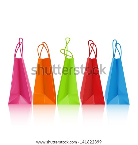 Five colorful shopping bags  - raster version - stock photo