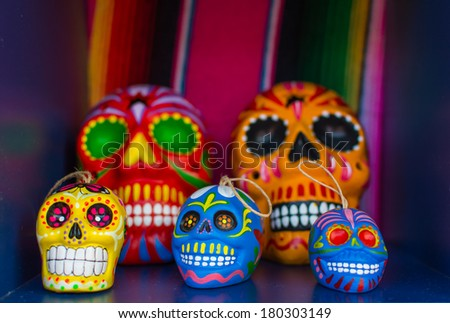 Five Colorful Skulls From Mexican Tradition - stock photo