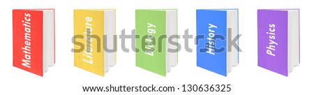 Five colorful textbooks. In English. Isolated on white. - stock photo