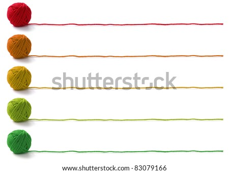 five colors of yarn balls , knitting banner design on white background - stock photo