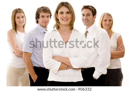 Five confident business people on white background - stock photo