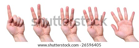 five counting hands isolated over white background - stock photo